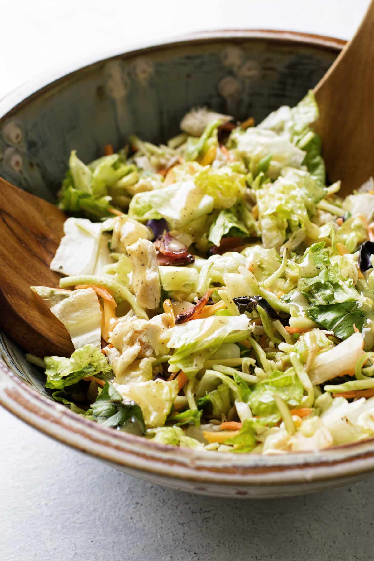 close-up photo of a the salad in a serving bowl