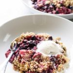photo of a berry crumble in a bowl