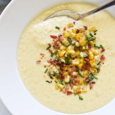overhead photo of a bowl of corn soup