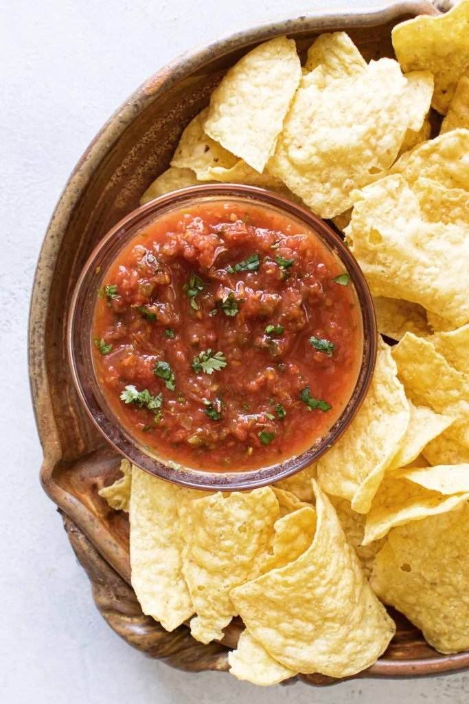 salsa in a bowl with tortilla chips