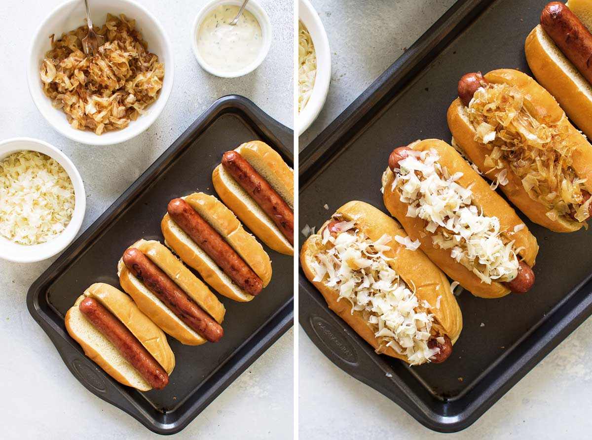 photo collage showing how to assemble the hot dogs