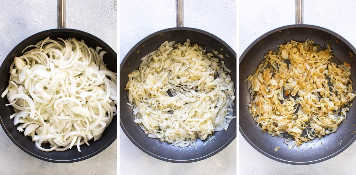 photo collage showing three stages of caramelizing onions in a skillet