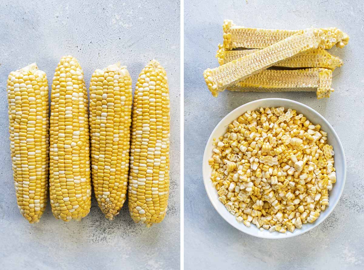 photo collage of corn on cob and the kernels in a bowl