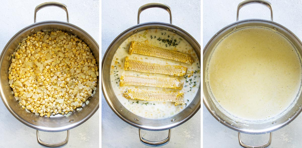 photo collage showing the steps for making the soup