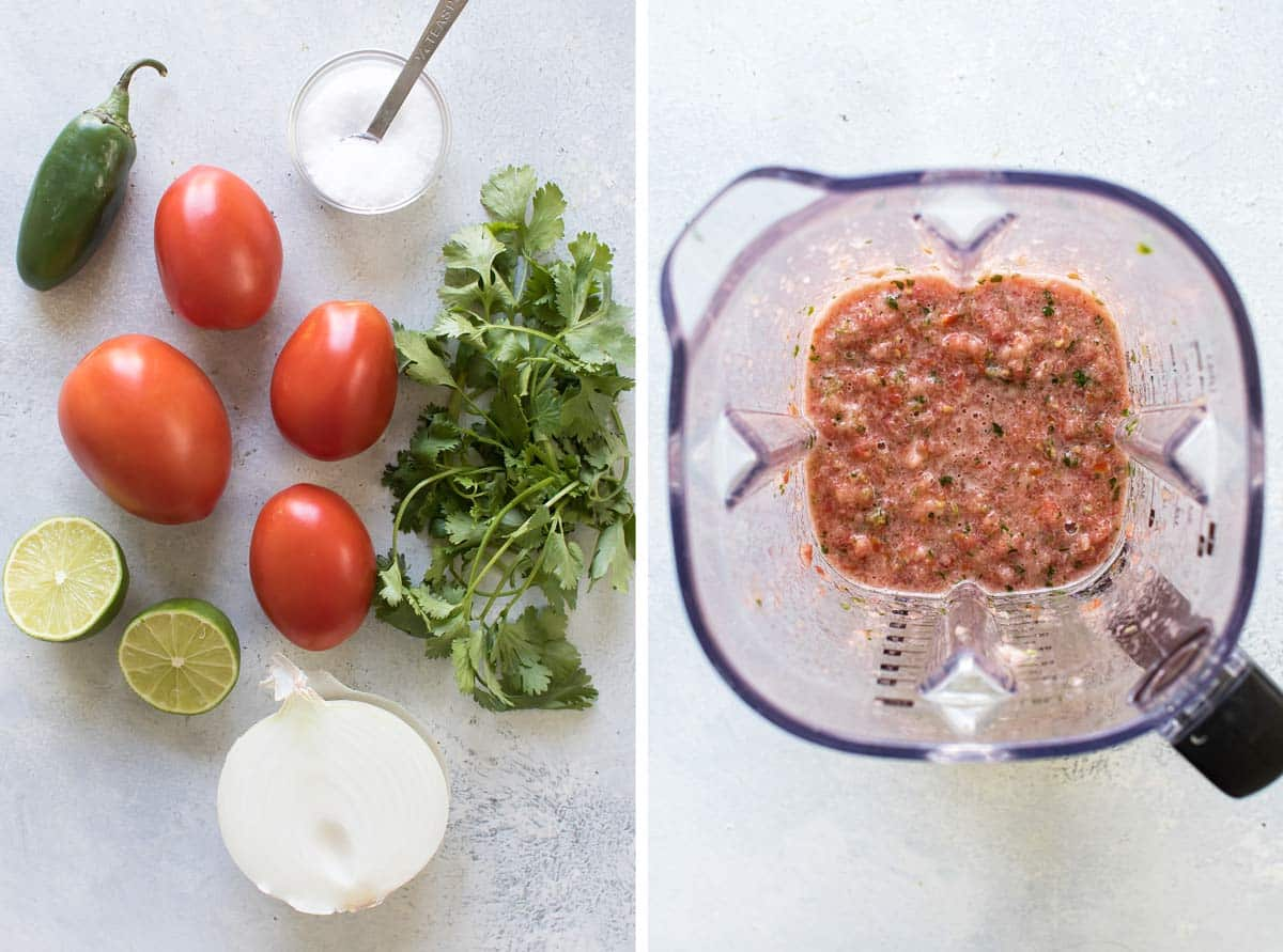 photo of the ingredients and a photo of the ingredients pureed in a blender.