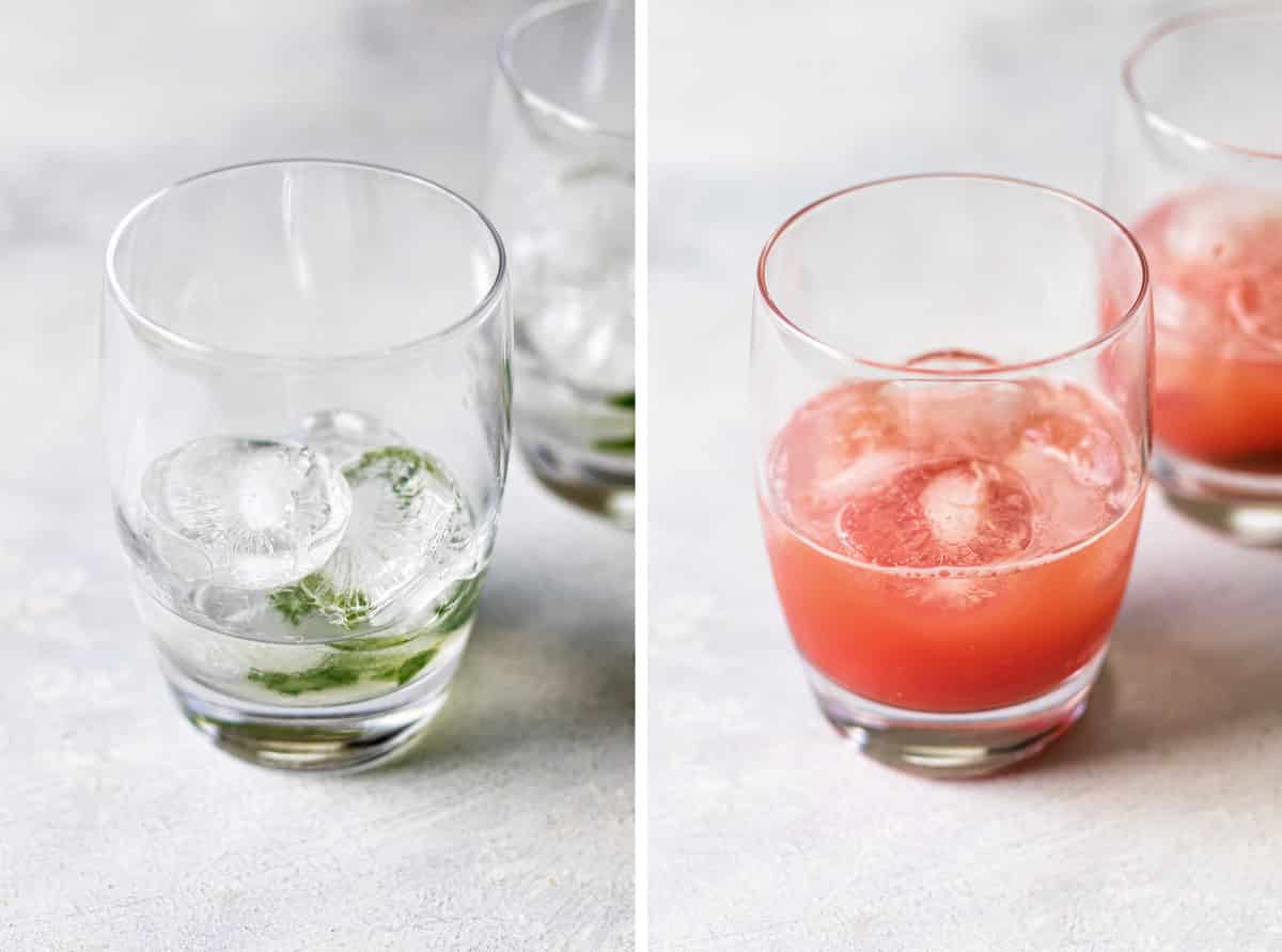 photo collage showing the rum in a glass and the watermelon juice added