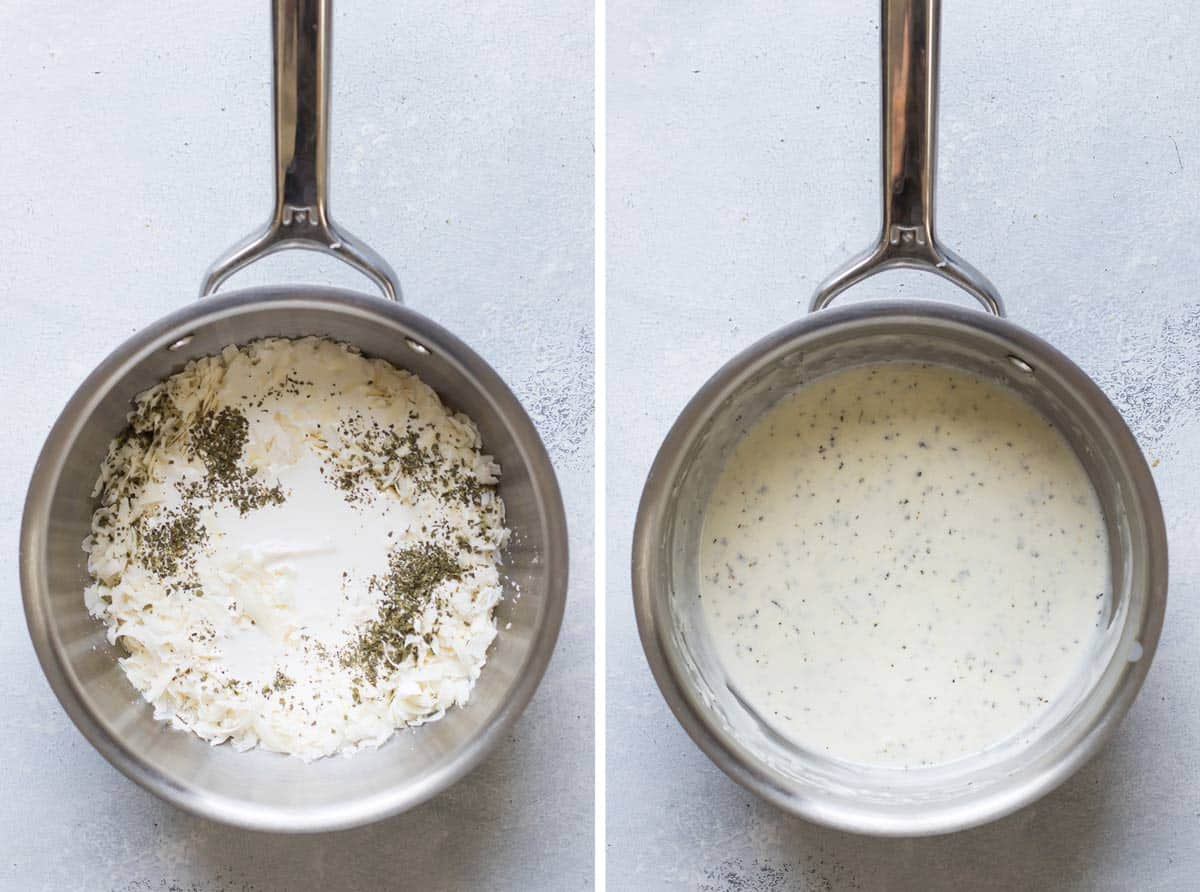 photo collage of the sauce ingredients in a pan and the finished cheese sauce.