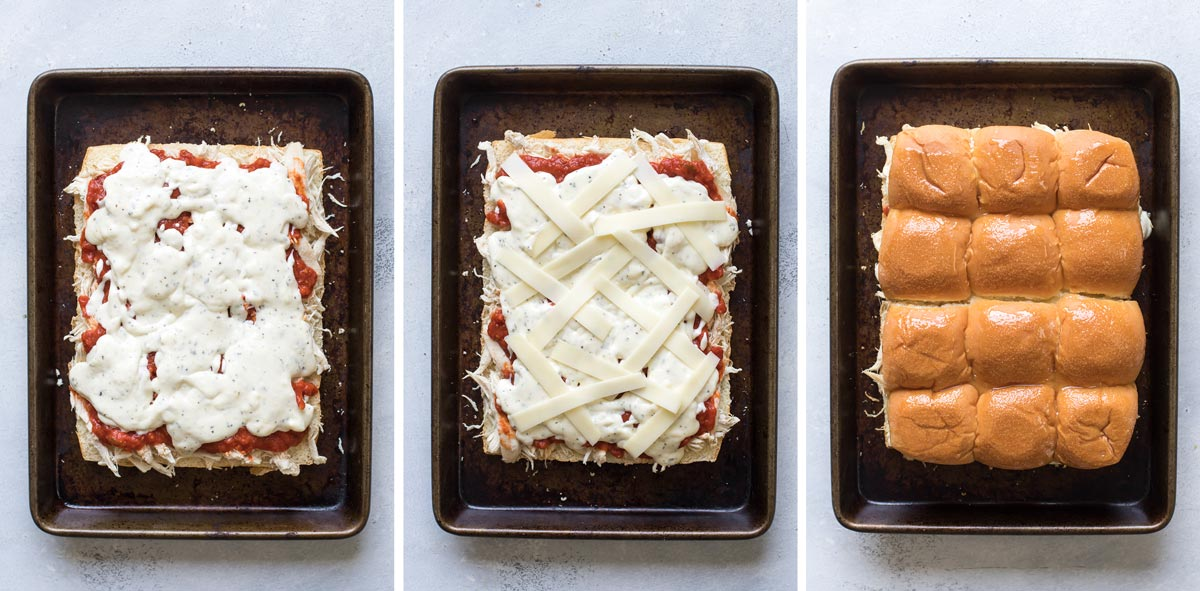 photo collage of cheese sauce, mozzarella cheese, and the top bun slice added.