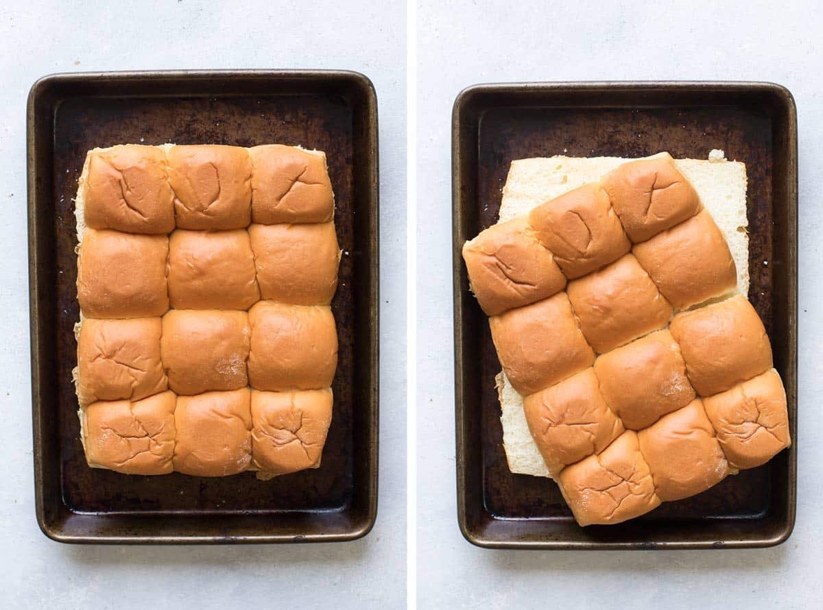 photo collage showing the buns in one piece and then sliced in half.