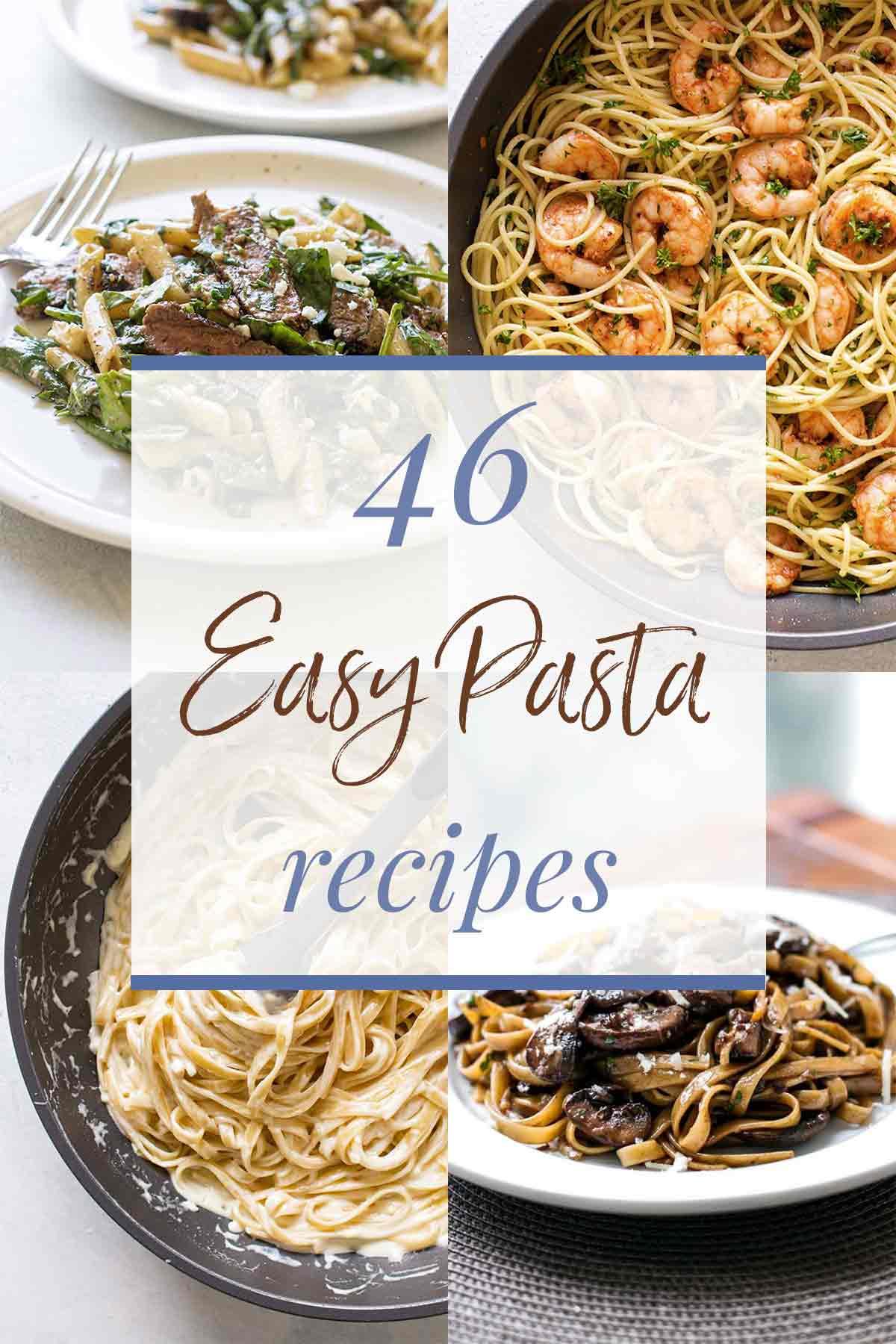 photo collage of pasta recipes