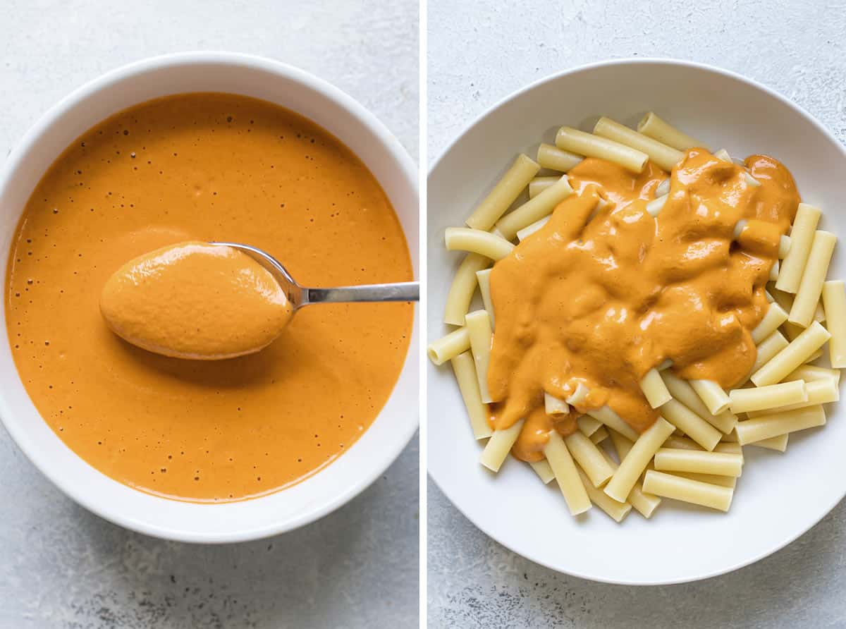 photo collage of the sauce in a bowl and the sauce on top of cooked pasta