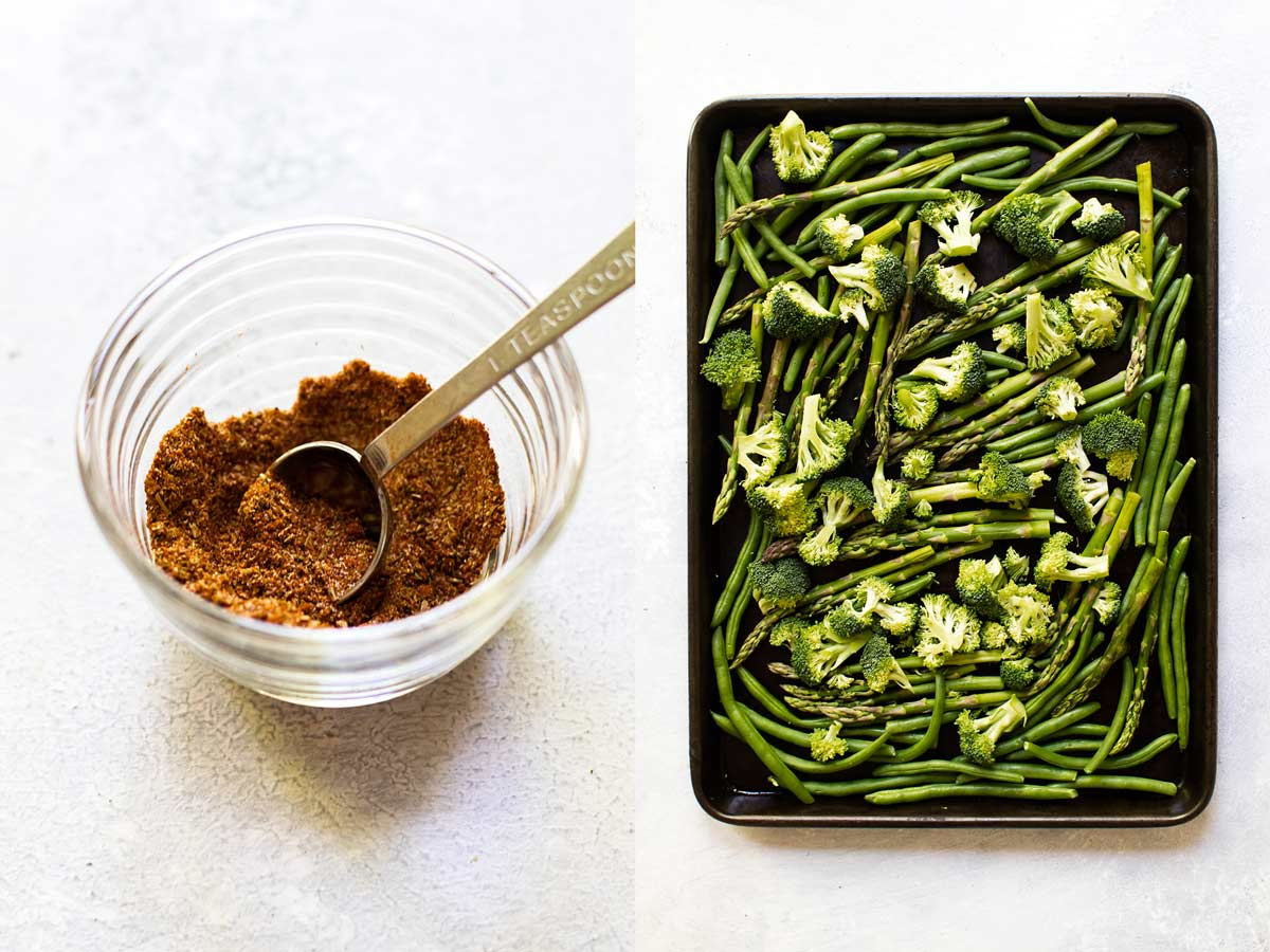 collage of the spices in a bowl and the vegetables on a sheet pan