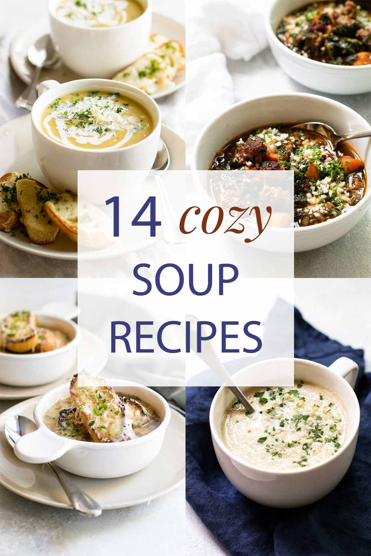 photo collage of different bowls of soup.
