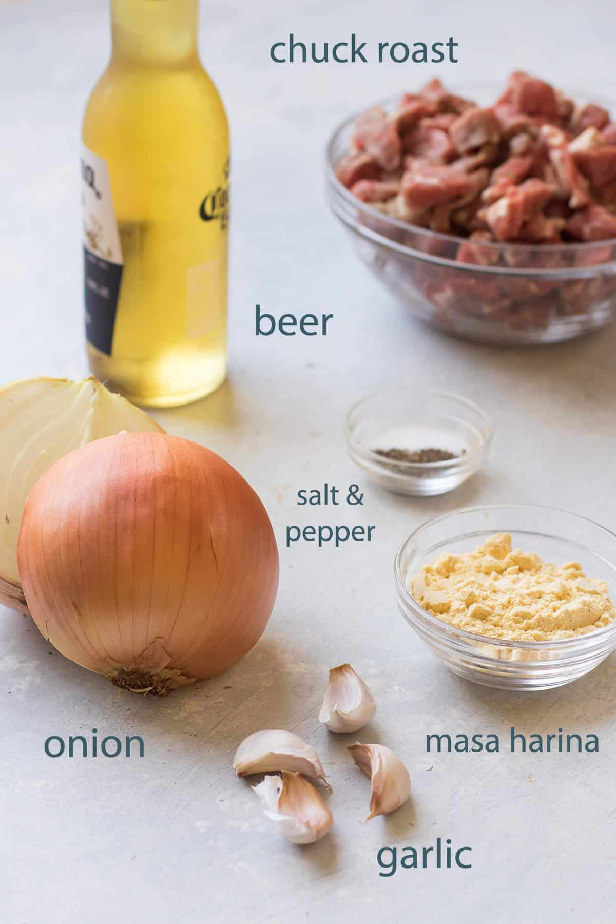 ingredients for the chili.