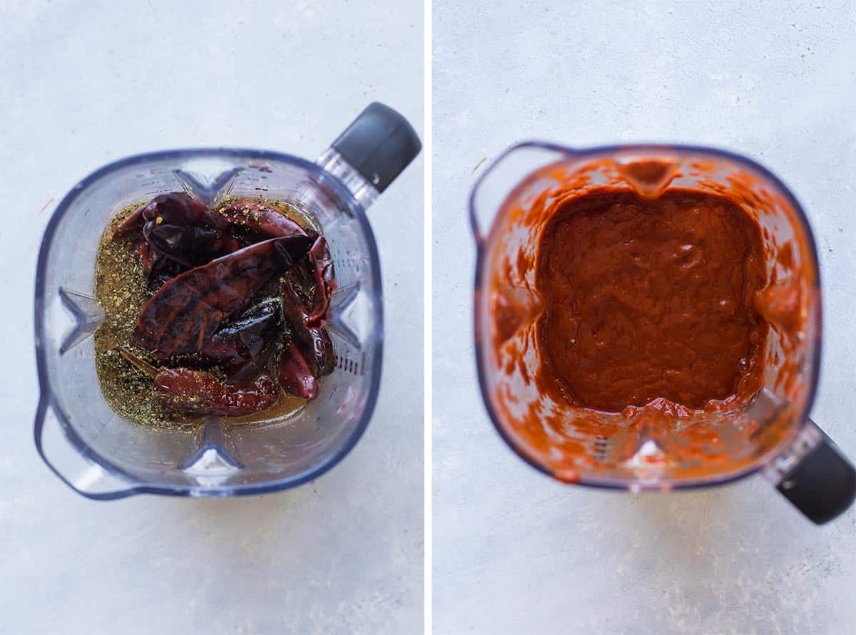 sauce ingredients in the blender and then pureed in the blender.