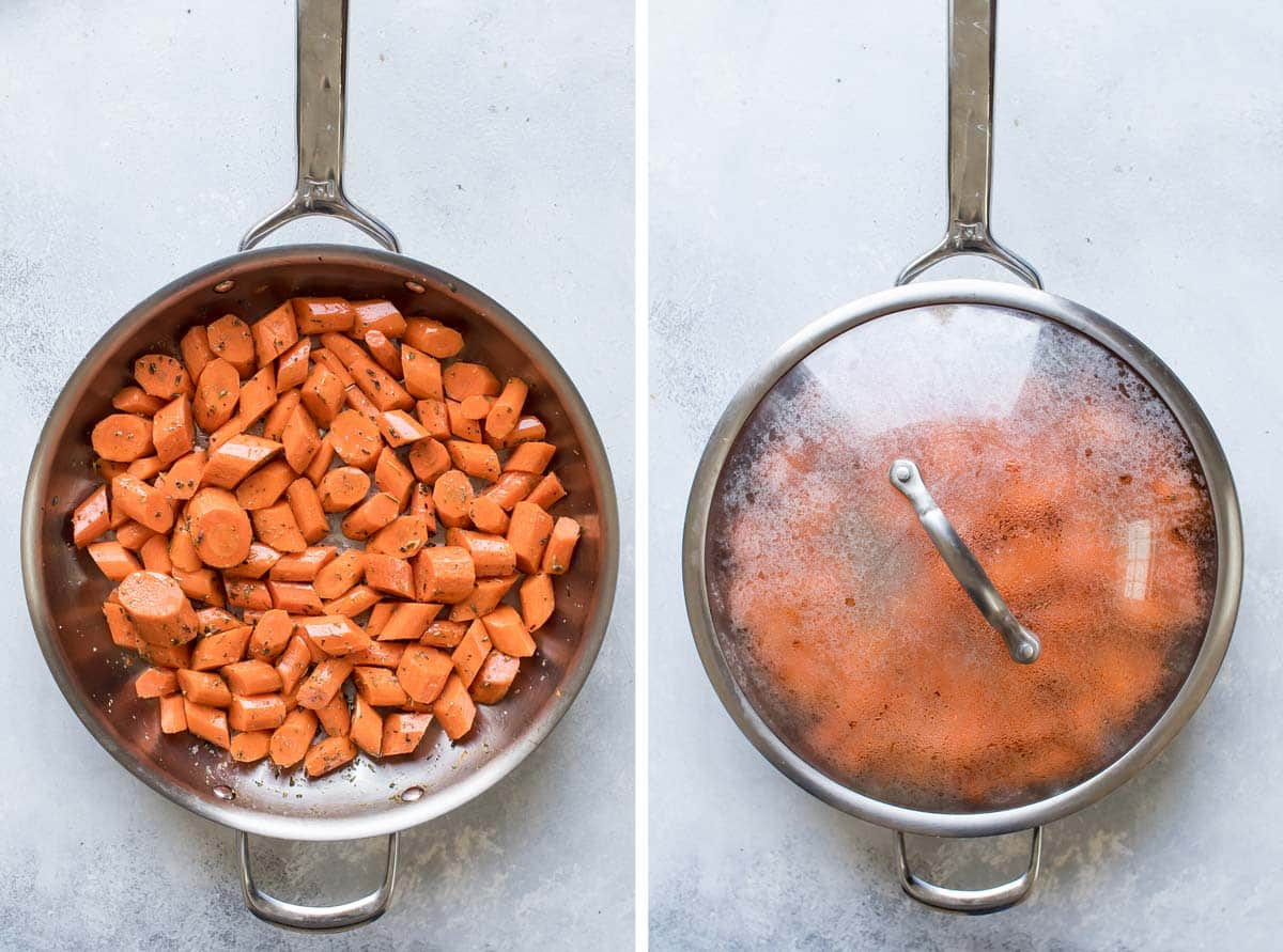 photo collage of the carrots in a skillet with oil and herbs and the skillet covered.