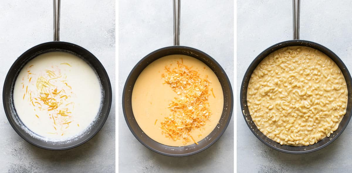 photo collage of the pasta and cheese being added to the sauce.
