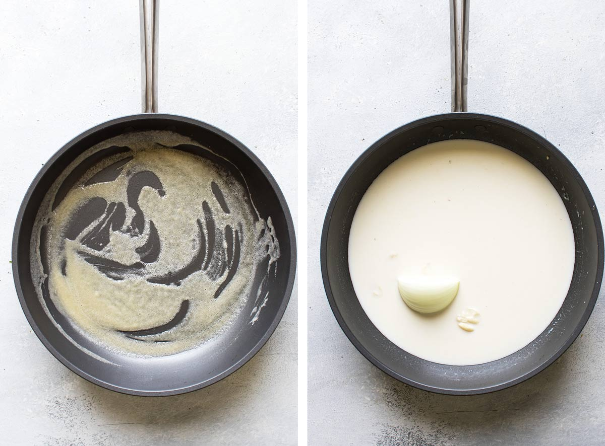 photo collage of the white sauce being made.