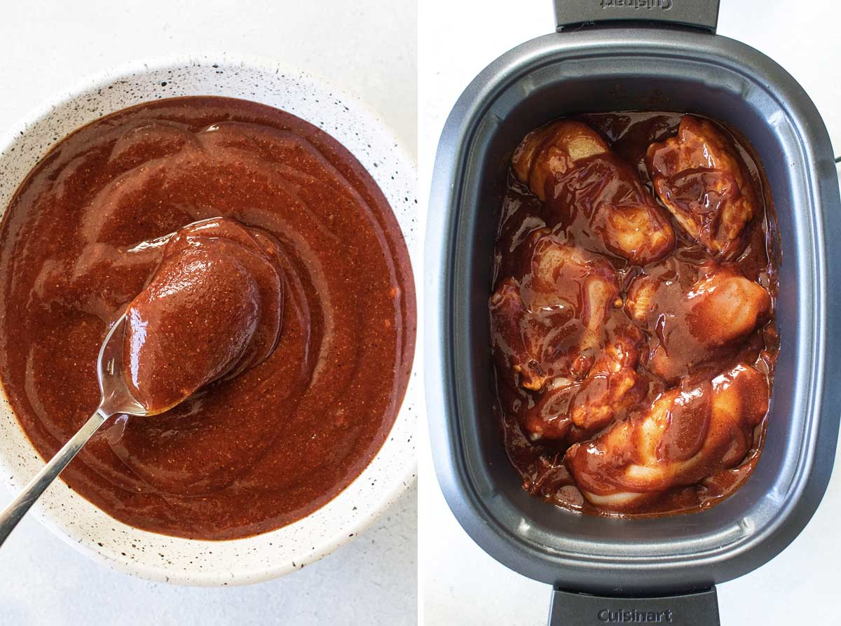 photo collage of the sauce and the chicken and sauce in a slow cooker.
