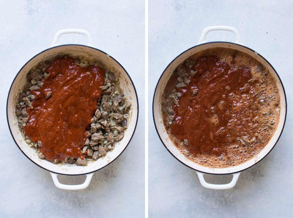 photo collage of the chilli being added and the beer being added,