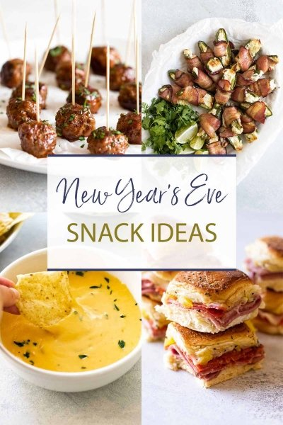 new years eve snacks photo collage