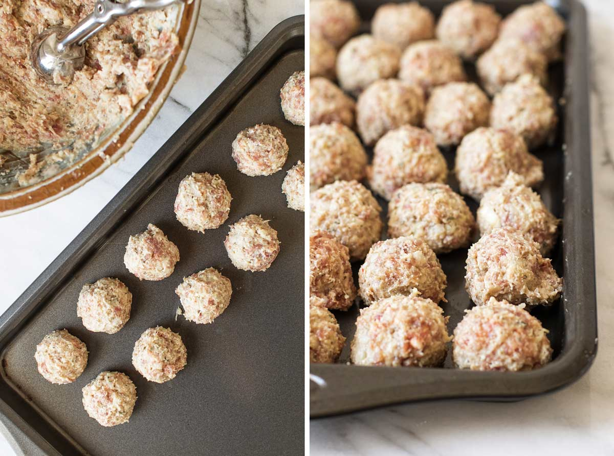 photo collage of the meatballs being scooped and lined up on a baking sheet.