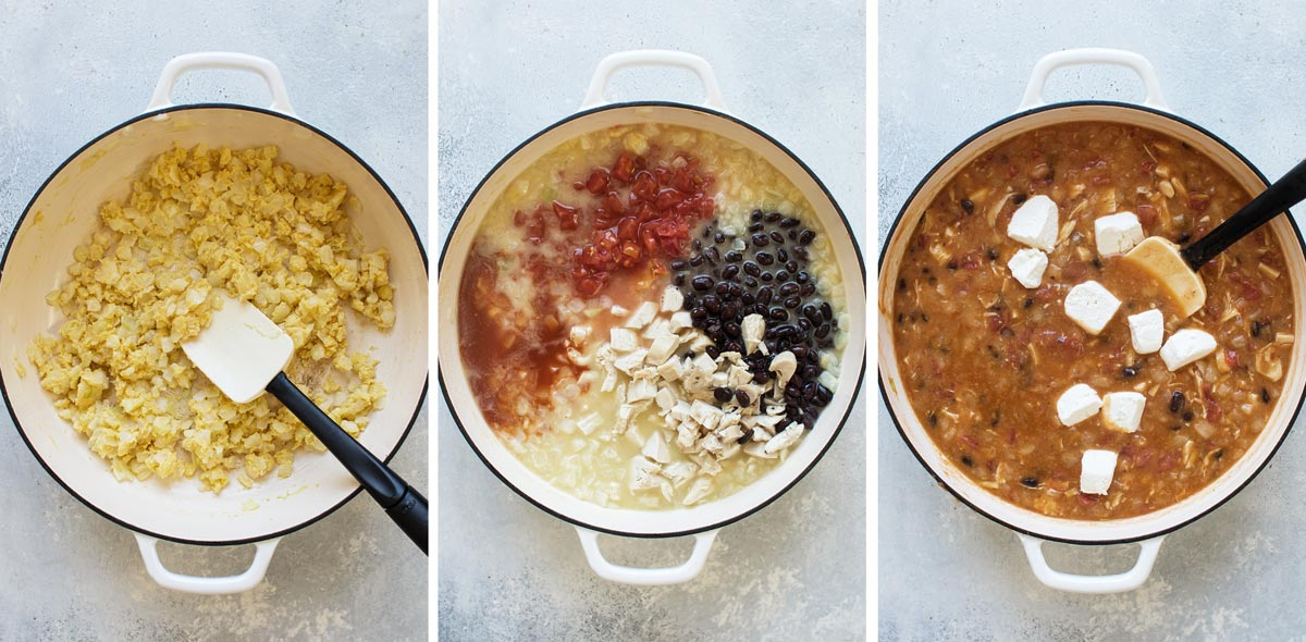 three photos showing the recipe steps