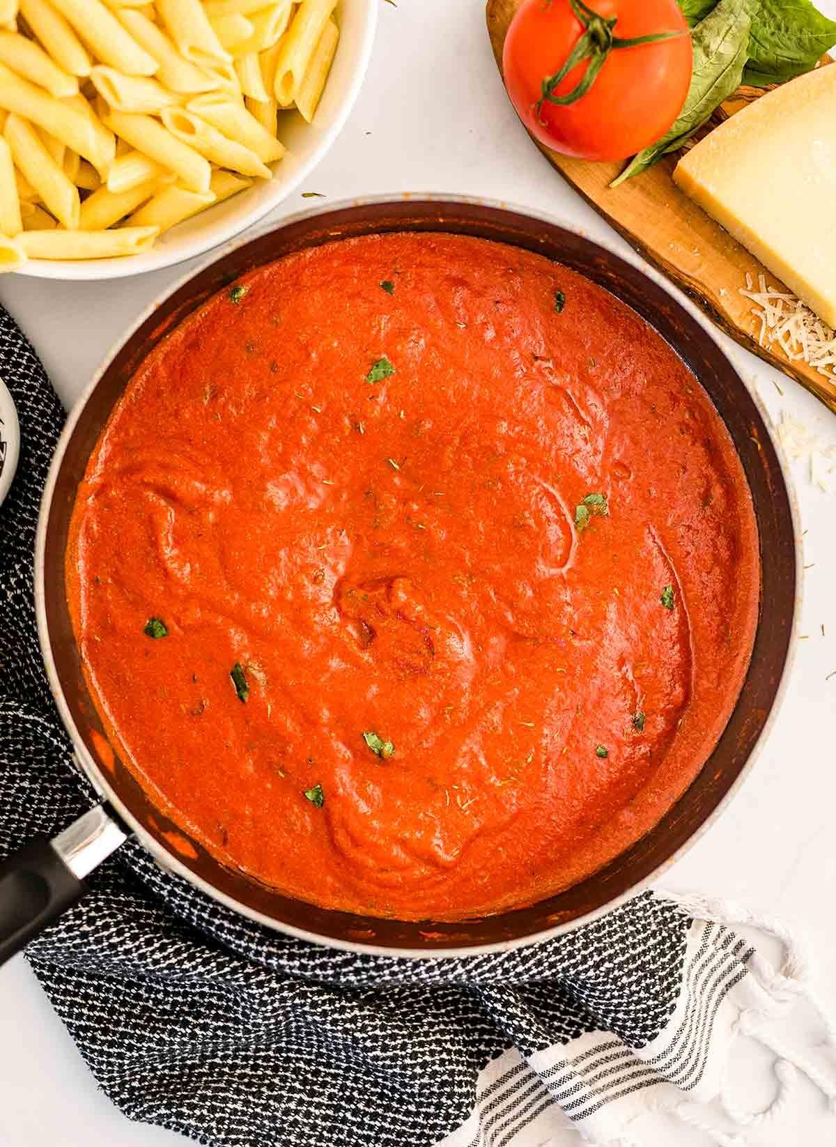 tomato pasta sauce in a skillet
