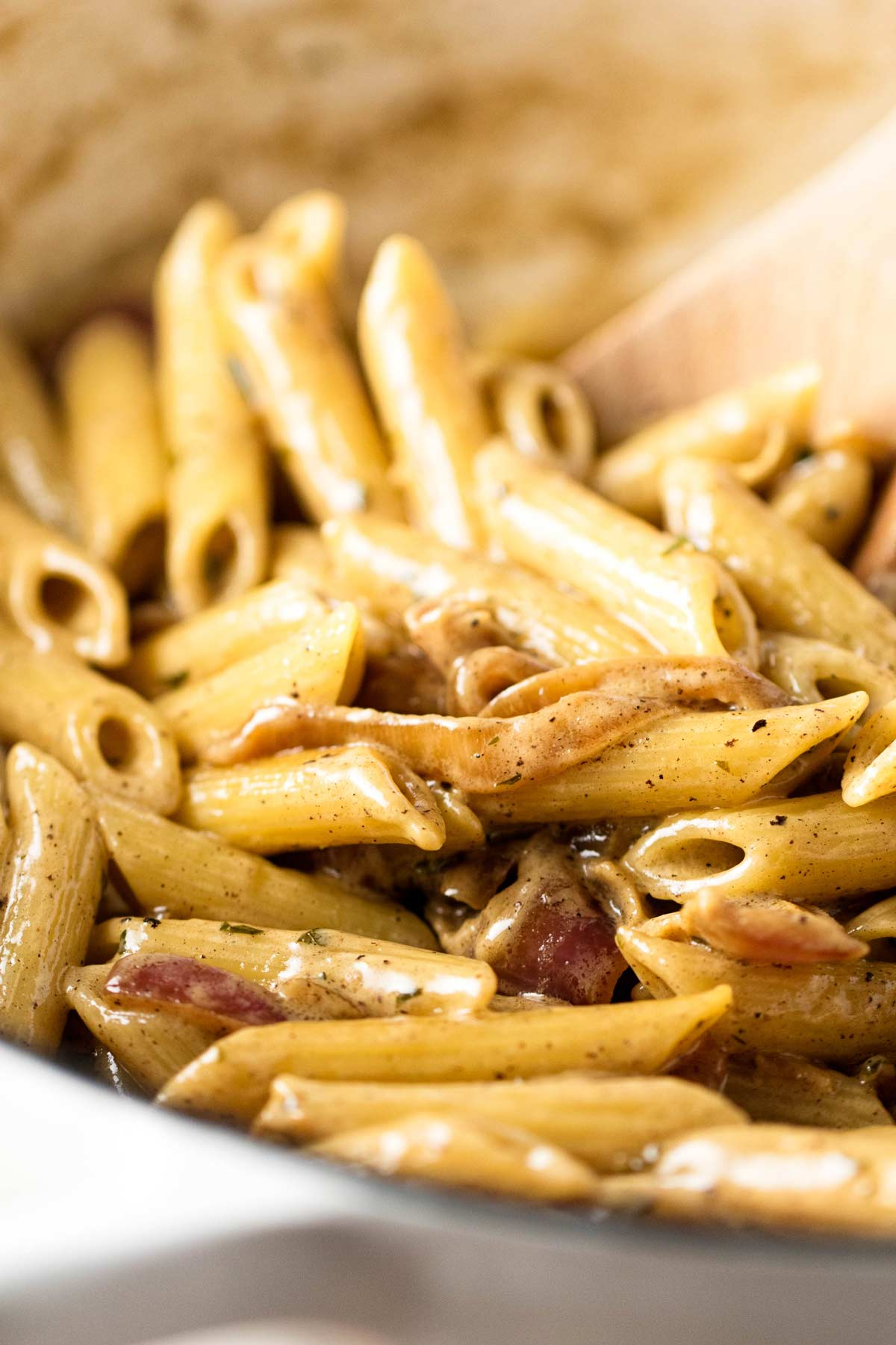 pasta with mustard sauce in a pan