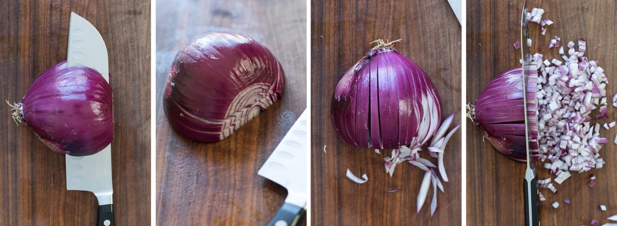 four photos showing how to dice an onion