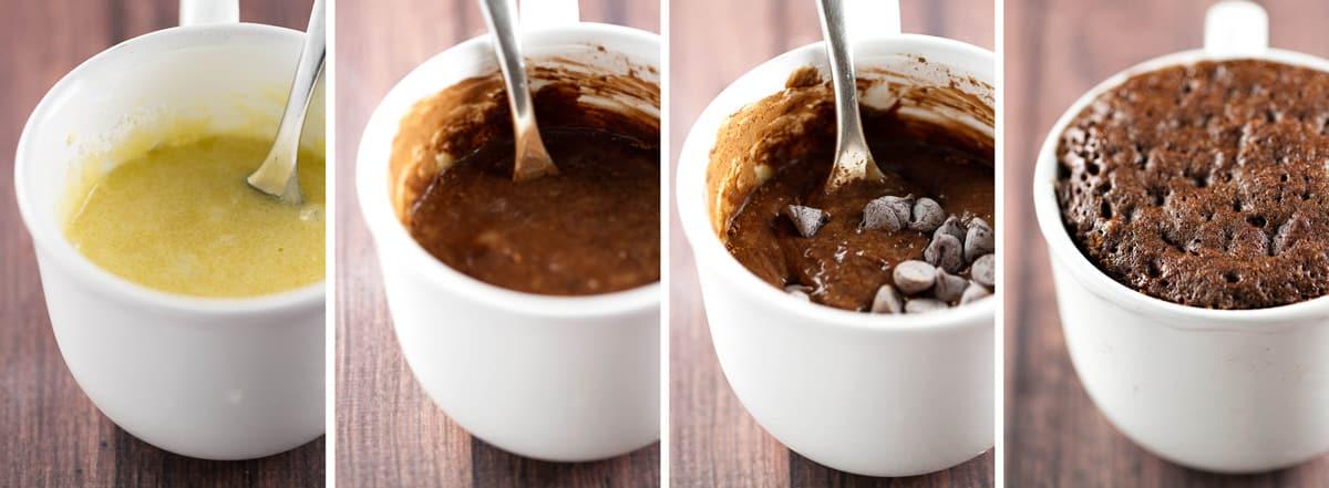 four process photos showing how to make the mug cake