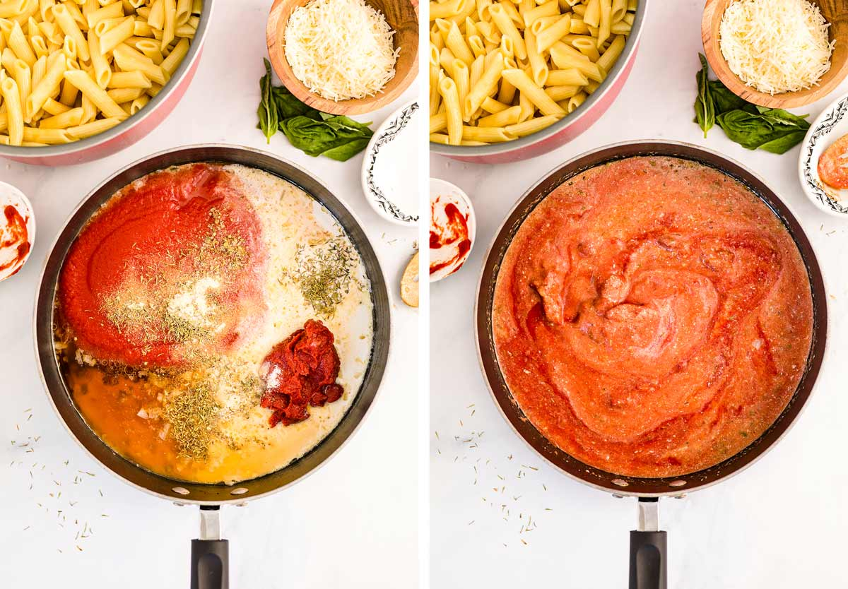 photo collage showing all of the ingredients in the pan and then the sauce simmering in the pan