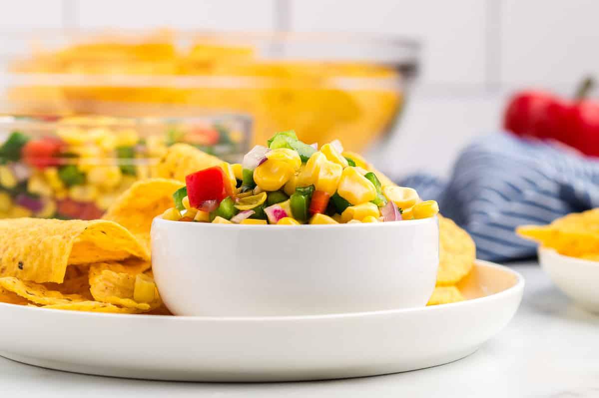 a bowl of corn salsa.
