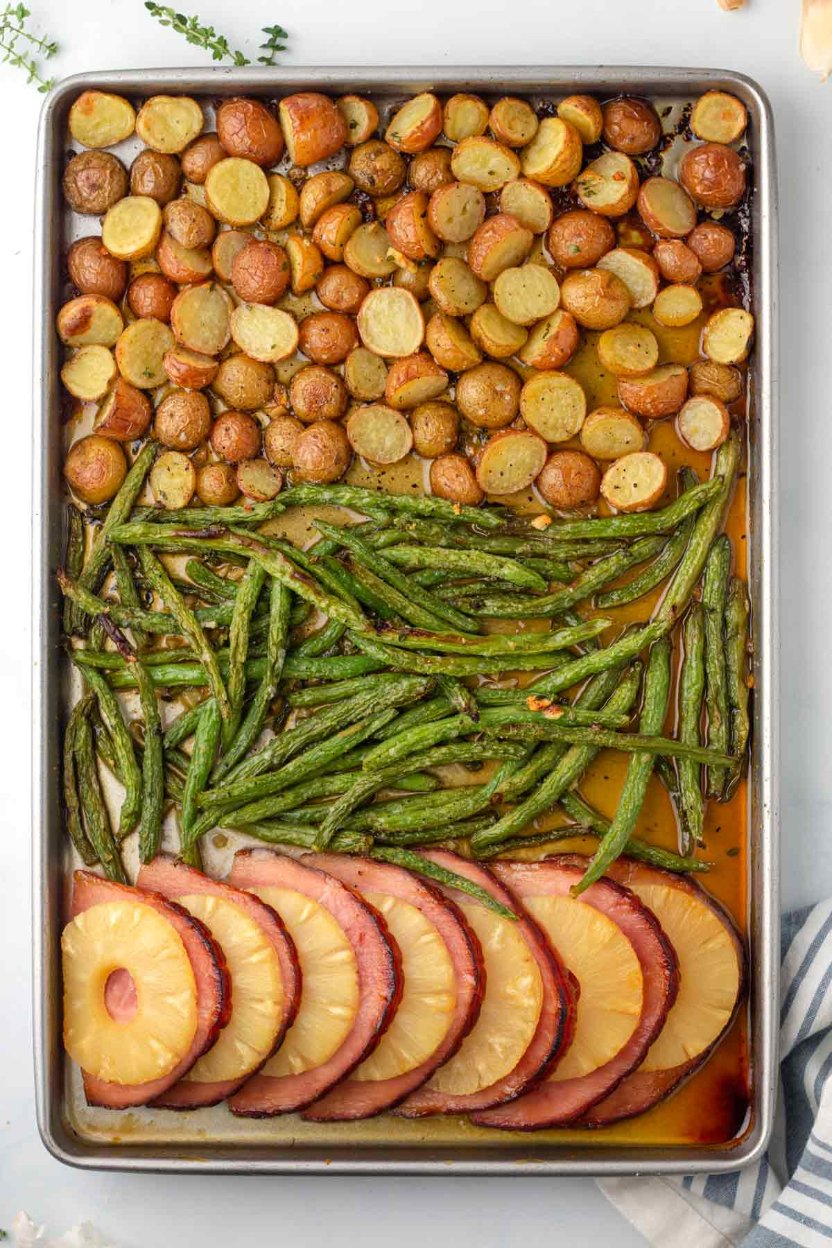 the finished recipe on a sheet pan.