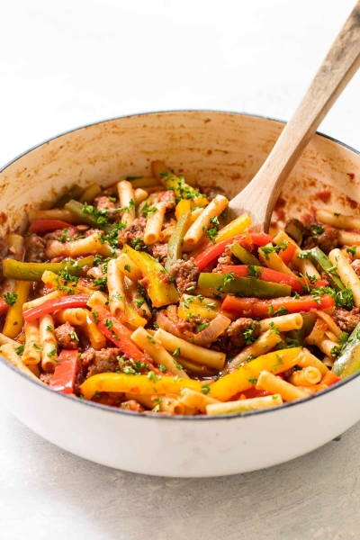 sausage and peppers pasta.