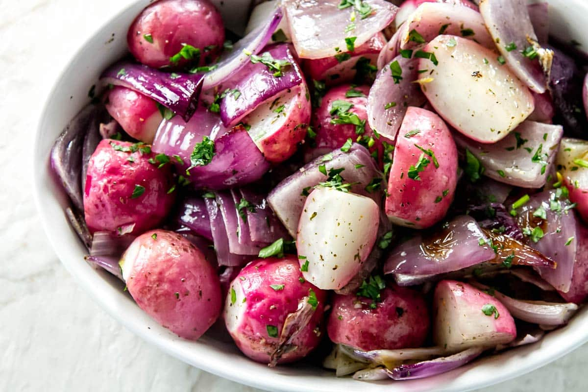 roasted radishes in a bowl