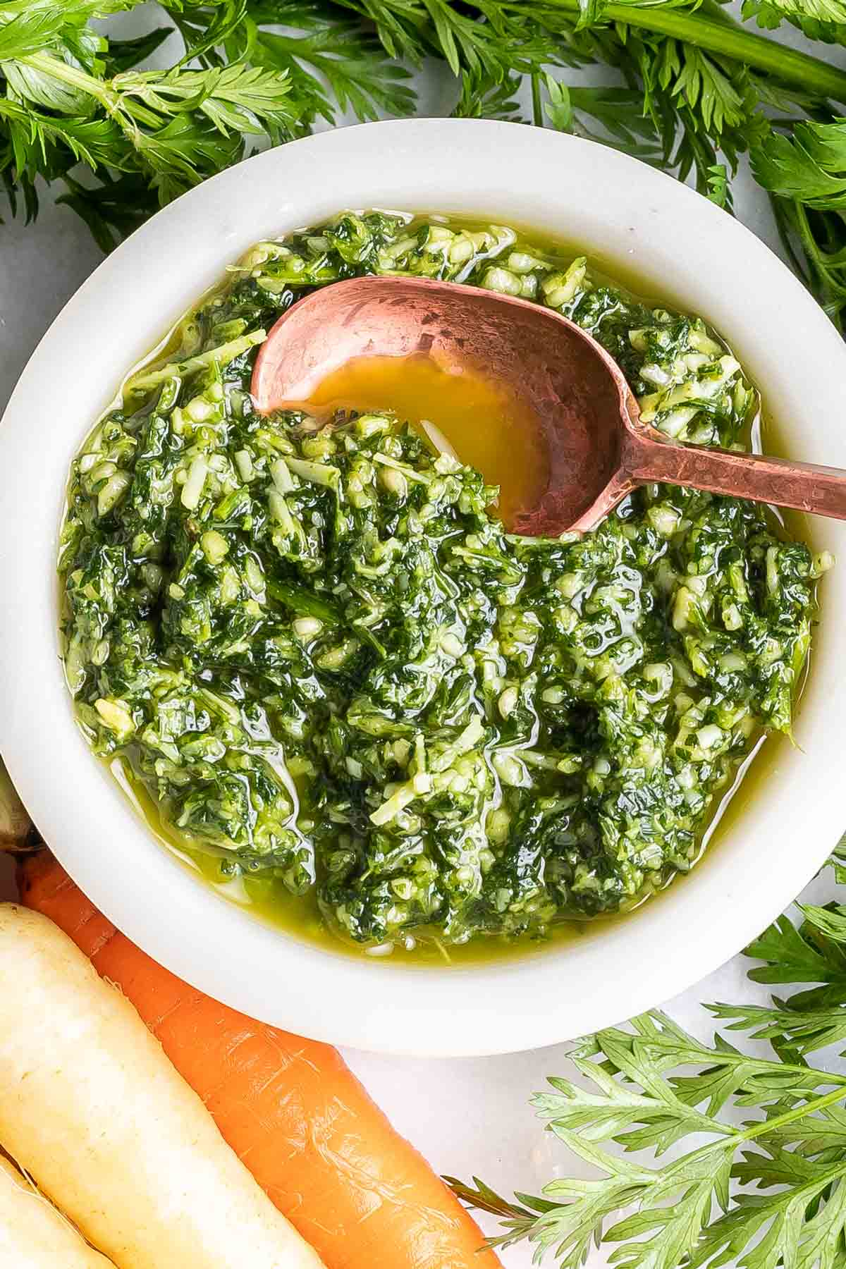 overhead shot of a bowl of pesto.