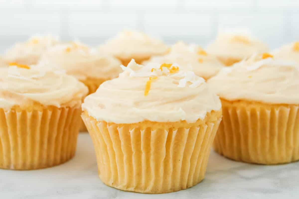 lemon cupcakes with frosting.