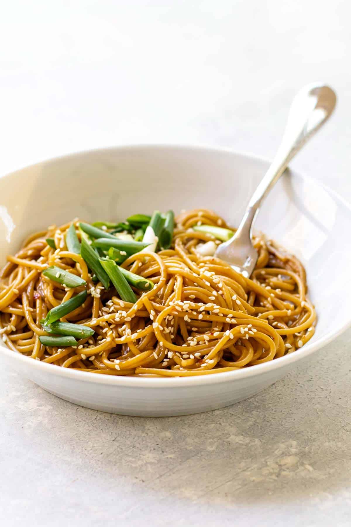 a bowl of sesame noodles.