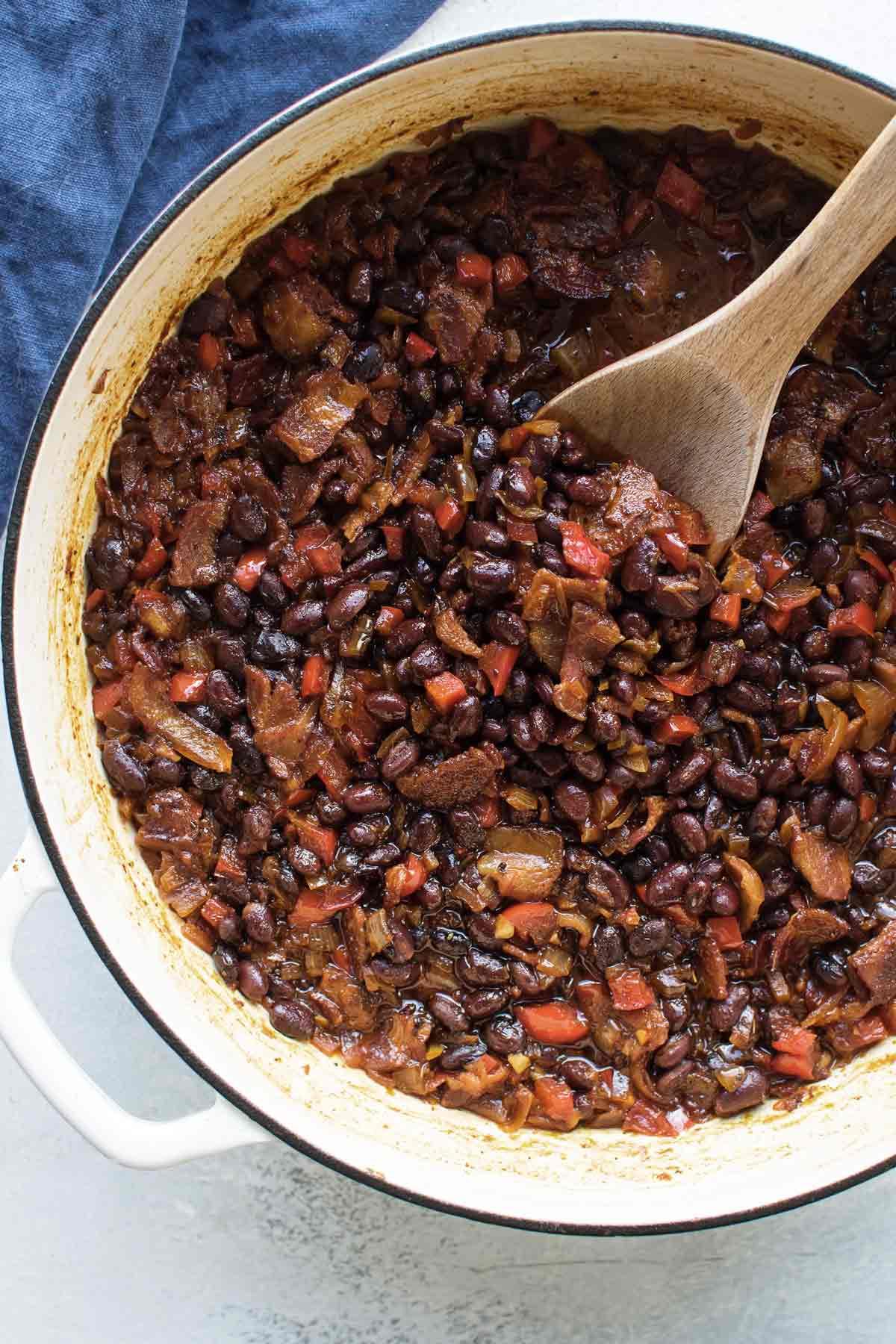 overhead shot of baked black beans.