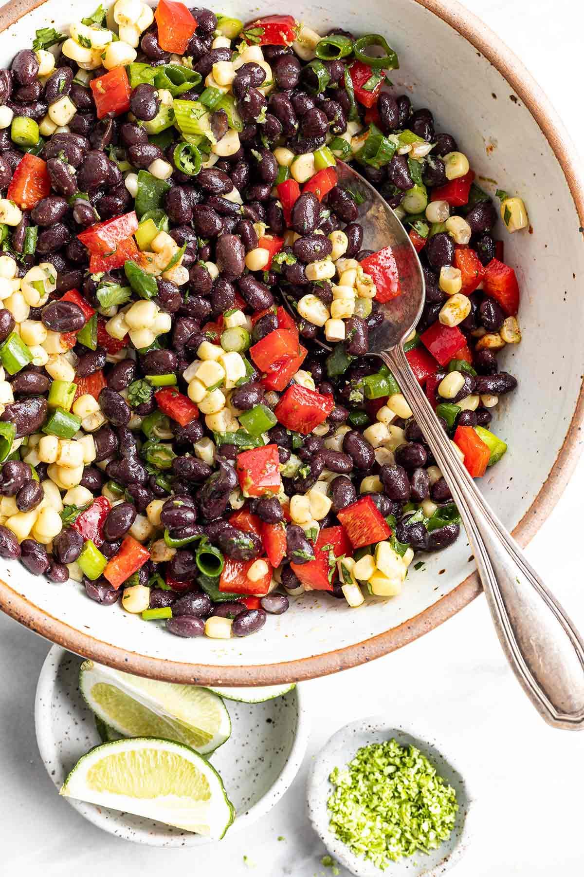 overhead shot of the black bean salad.