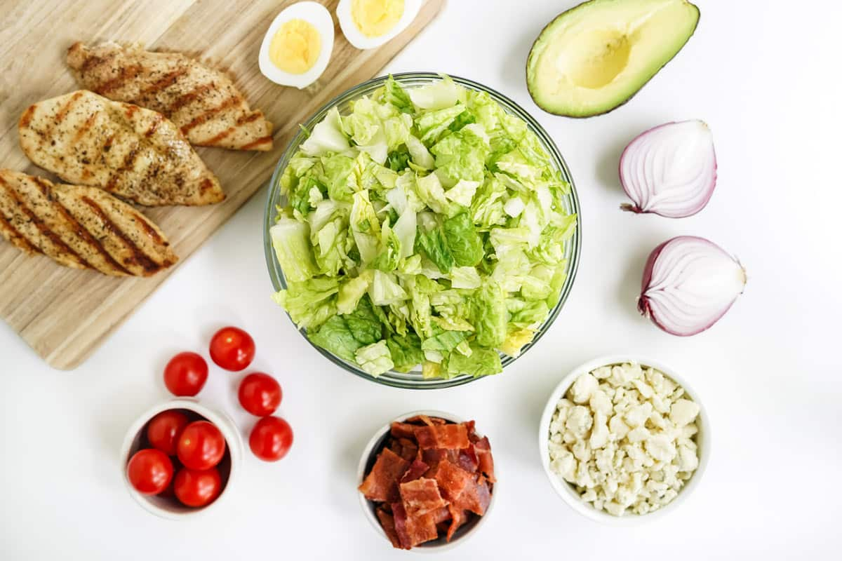 ingredients for the cobb salad.