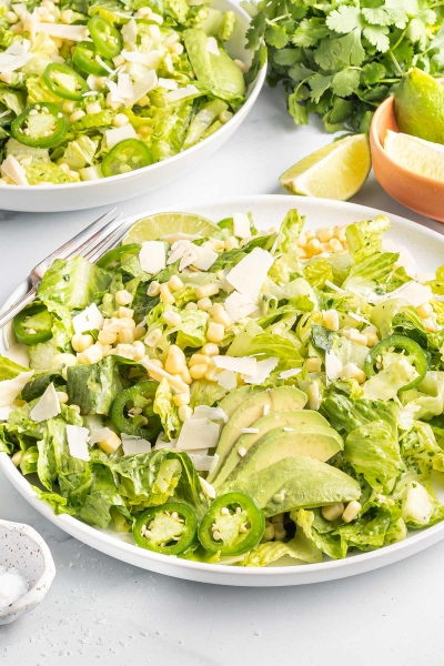 Mexican caesar salad on a white plate.