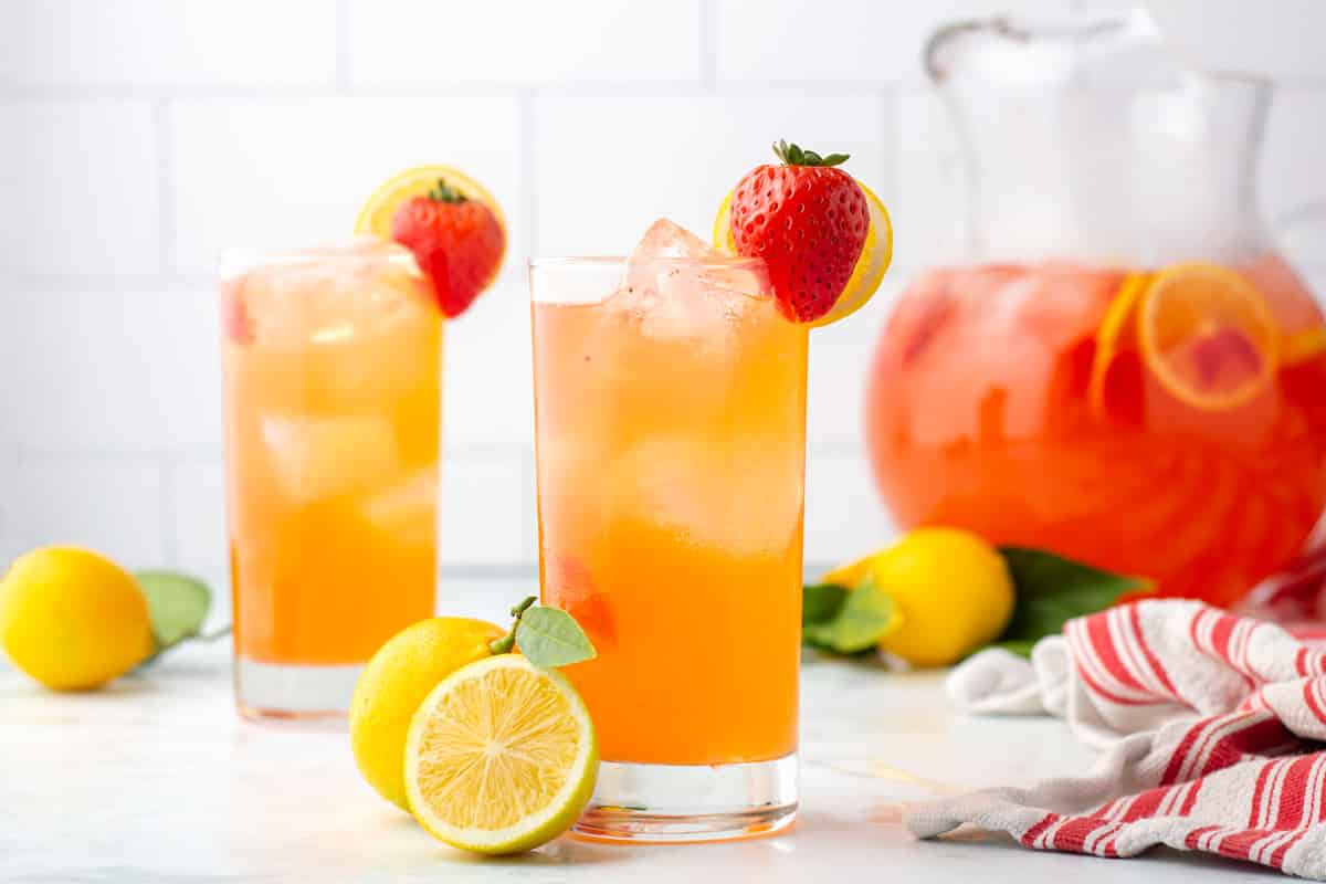 two glasses of lemonade.