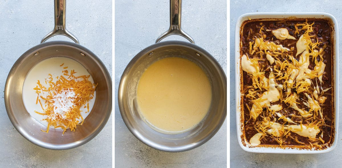 photo collage showing steps for making the cheese sauce.