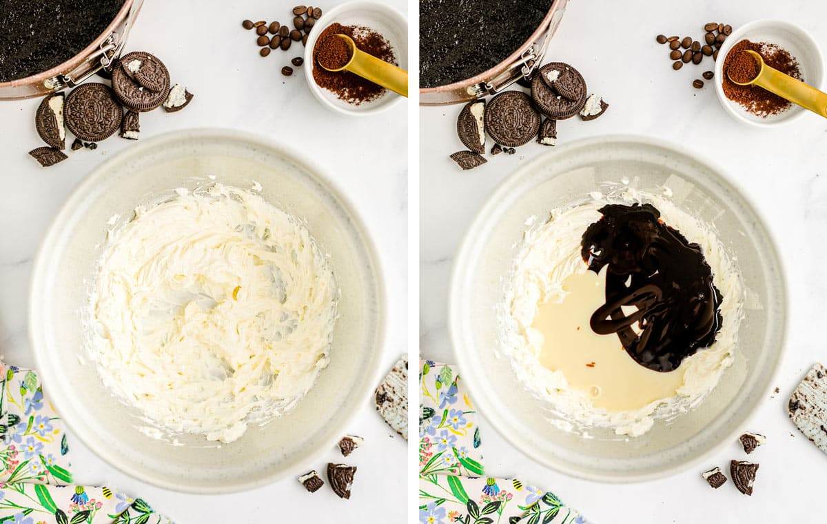 two photos showing the cream cheese, milk, and chocolate being mixed.