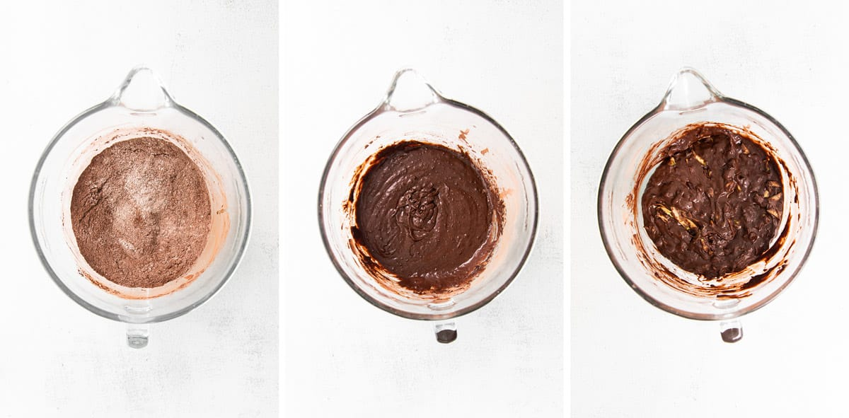 three photos showing how to make the batter.