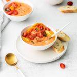 a bowl of homemade gazpacho.
