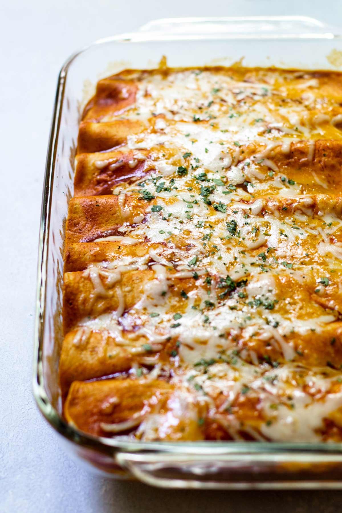 enchiladas in a baking dish.