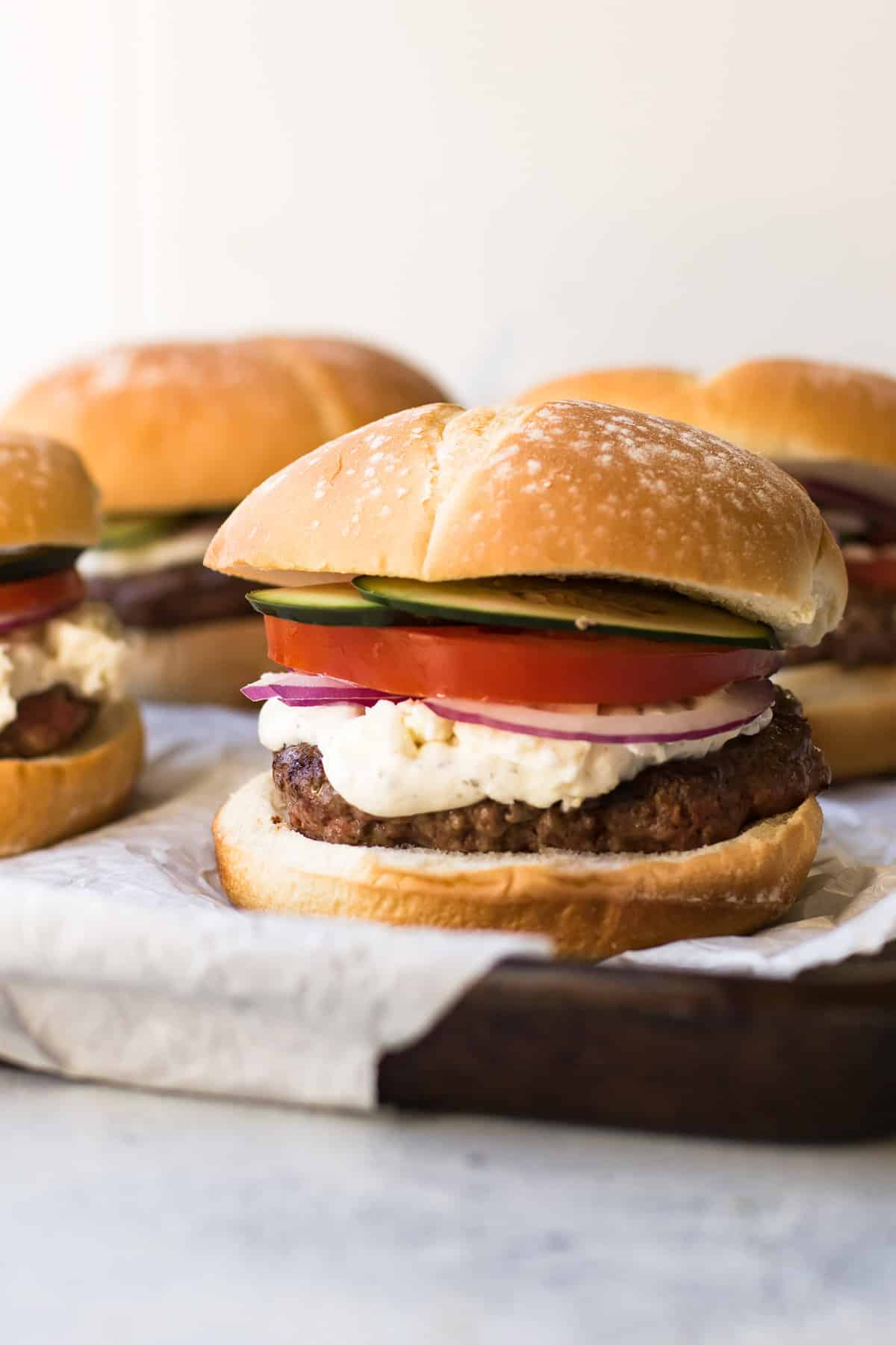 Greek Burger with toppings.